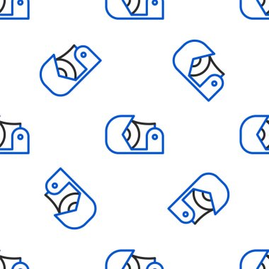 Line Scotch icon isolated seamless pattern on white background. Roll of adhesive tape for work and repair. Sticky packing tape. Office tool and stuff. Colorful outline concept. Vector. icon