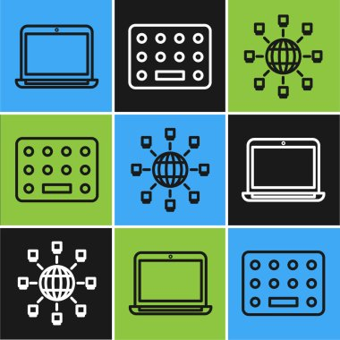 Set line Laptop, Social network and Pills in blister pack icon. Vector. icon
