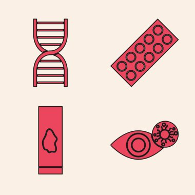 Set Reddish eye due to virus, DNA symbol, Pills in blister pack and Blood test and virus icon. Vector. icon