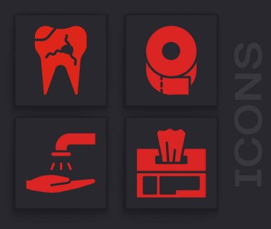Set Wet wipe pack, Broken tooth, Toilet paper roll and Washing hands with soap icon. Vector. icon
