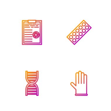 Set line Medical rubber gloves, DNA symbol, Clipboard with blood test results and Pills in blister pack. Gradient color icons. Vector. icon