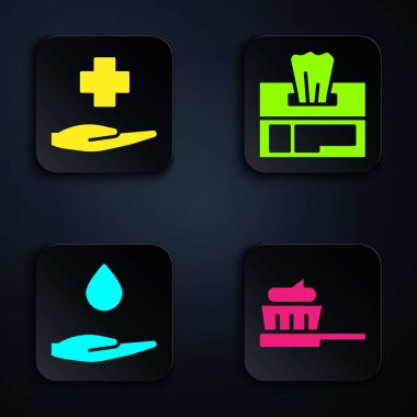 Set Toothbrush with toothpaste, Cross hospital medical, Washing hands with soap and Wet wipe pack. Black square button. Vector. icon