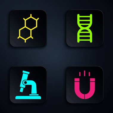 Set Magnet, Chemical formula, Microscope and DNA symbol. Black square button. Vector.
