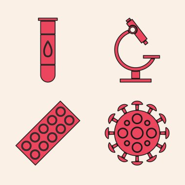 Set Virus, Blood test and virus, Microscope and Pills in blister pack icon. Vector. icon