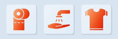 Set Washing hands with soap, Toilet paper roll and T-shirt. White square button. Vector. icon