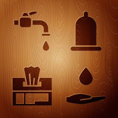 Set Washing hands with soap, Water tap, Wet wipe pack and Condom on wooden background. Vector. icon