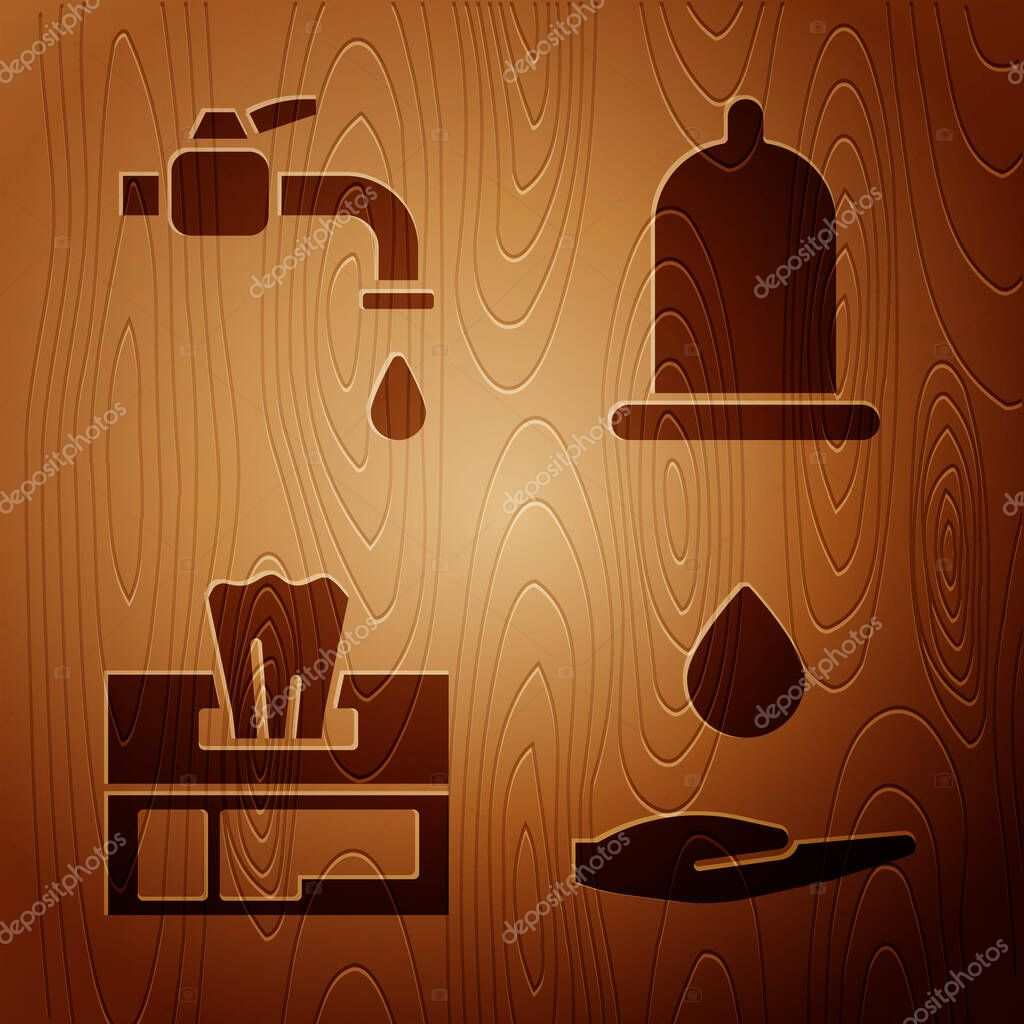 Set Washing hands with soap  Water tap  Wet wipe pack and Condom on wooden background icon