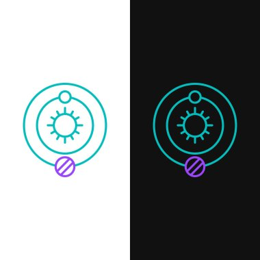 Line Solar system icon isolated on white and black background. The planets revolve around the star. Colorful outline concept. Vector.
