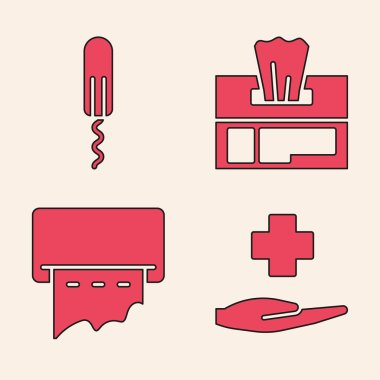 Set Cross hospital medical, Sanitary tampon, Wet wipe pack and Paper towel dispenser on wall icon. Vector. icon