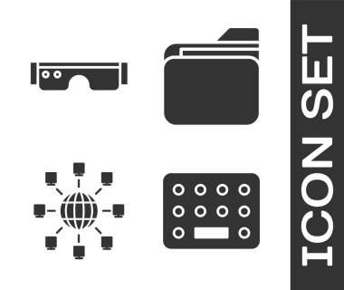 Set Pills in blister pack, Smart glasses, Social network and Document folder icon. Vector. icon