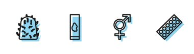 Set line Gender, Rabies virus, Blood test and and Pills in blister pack icon. Vector. icon