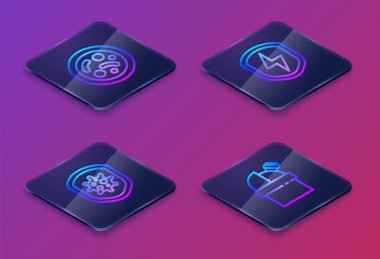 Set Isometric line Bacteria, Shield protecting from virus, Secure shield with lightning and Astronomical observatory. Blue square button. Vector.