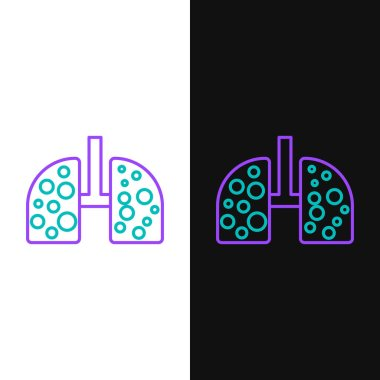 Line Virus cells in lung icon isolated on white and black background. Infected lungs. Coronavirus, COVID-19. 2019-nCoV. Colorful outline concept. Vector. icon