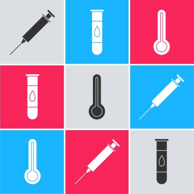 Set Syringe, Blood test and virus and Medical thermometer icon. Vector. icon
