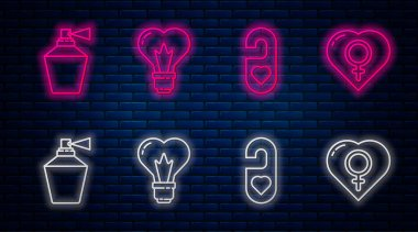 Set line Heart shape in a light bulb, Please do not disturb with heart, Perfume and Female gender in heart. Glowing neon icon on brick wall. Vector. icon