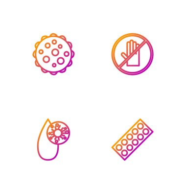 Set line Pills in blister pack, Blood test and virus, Virus and No handshake. Gradient color icons. Vector. icon