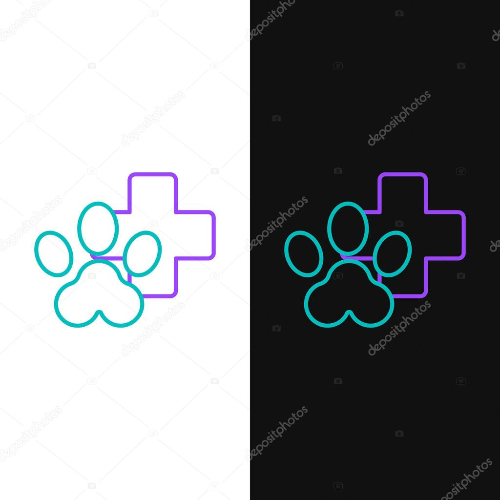 Line Veterinary clinic symbol icon isolated on white and black background. Cross hospital sign. Stylized paw print dog or cat. Pet First Aid sign. Colorful outline concept. Vector. icon