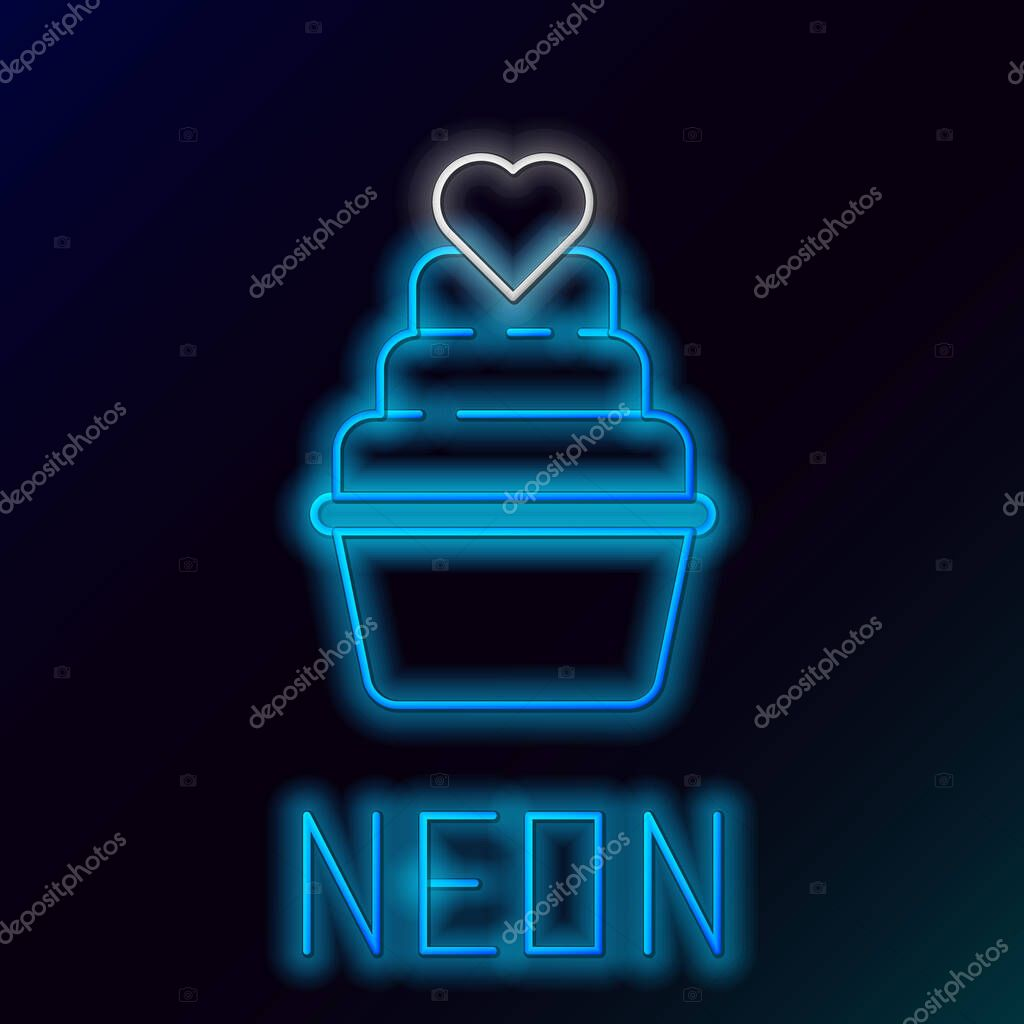 Glowing neon line Wedding cake with heart icon isolated on black background. Colorful outline concept. Vector. icon