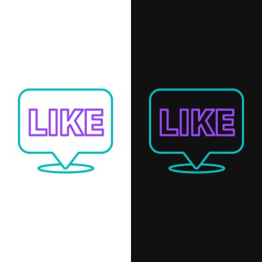 Line Like in speech bubble icon isolated on white and black background. Counter Notification Icon. Follower Insta. Colorful outline concept. Vector. icon