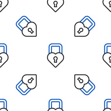 Line Castle in the shape of a heart icon isolated seamless pattern on white background. Locked Heart. Love symbol and keyhole sign. Valentines day. Colorful outline concept. Vector. icon