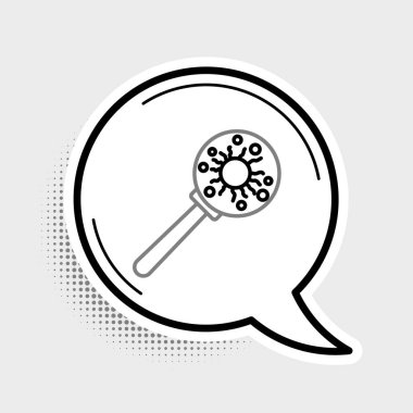 Line Virus under magnifying glass icon isolated on grey background. Corona virus 2019-nCoV. Bacteria and germs, microbe, fungi. Colorful outline concept. Vector. icon