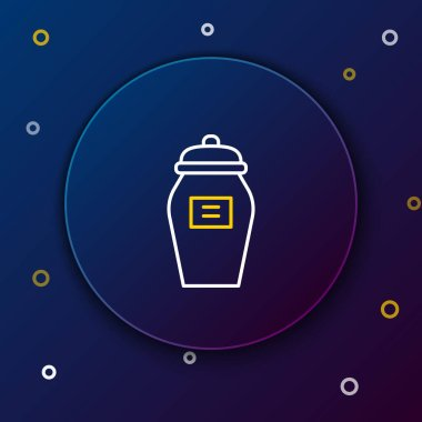 Line Funeral urn icon isolated on blue background. Cremation and burial containers, columbarium vases, jars and pots with ashes. Colorful outline concept. Vector. icon