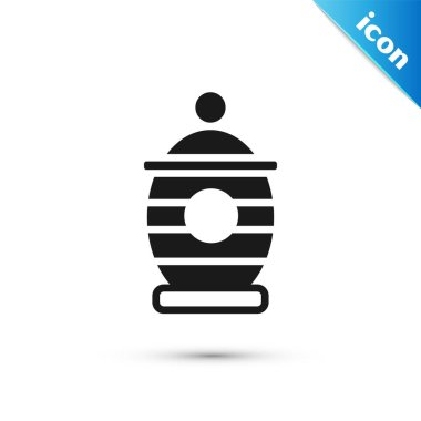 Grey Funeral urn icon isolated on white background. Cremation and burial containers, columbarium vases, jars and pots with ashes.  Vector. icon