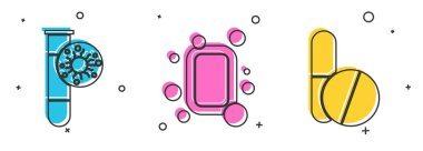 Set Test tube with virus, Bar of soap and Medicine pill or tablet icon. Vector. icon