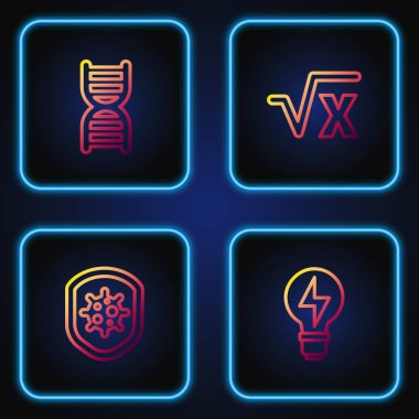Set line Light bulb with lightning, Shield protecting from virus, DNA symbol and Square root of x glyph. Gradient color icons. Vector. icon