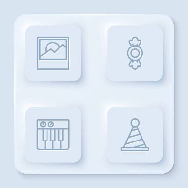 Set line Photo, Candy, Music synthesizer and Party hat. White square button. Vector. icon