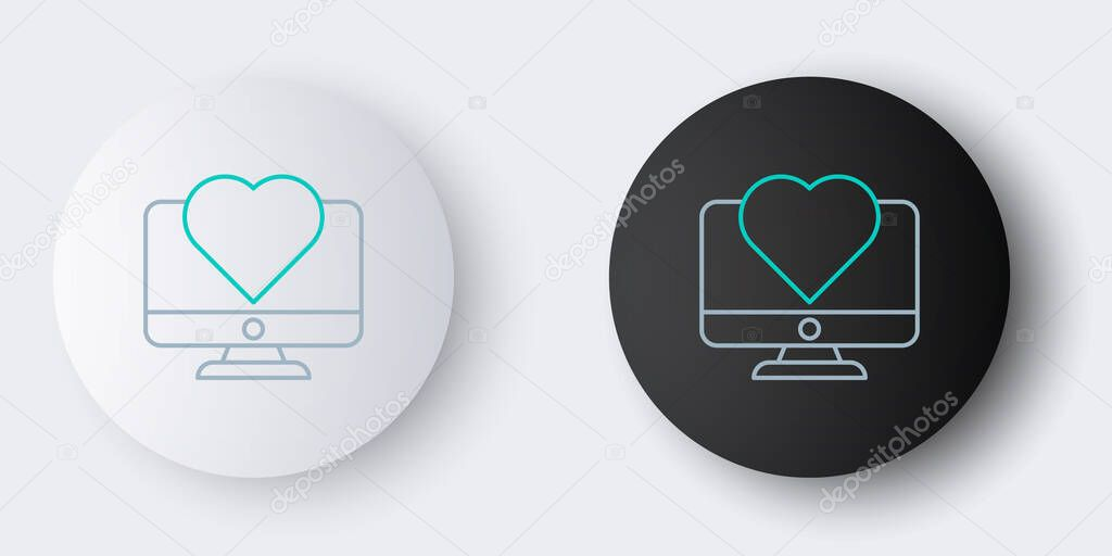 Line Computer monitor with heart icon isolated on grey background. Valentines day. Colorful outline concept. Vector. icon