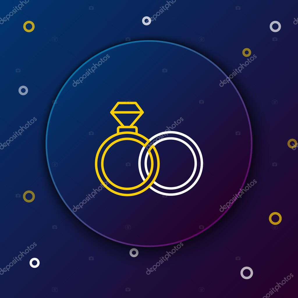Line Wedding rings icon isolated on blue background. Bride and groom jewelry sign. Marriage symbol. Diamond ring. Colorful outline concept. Vector. icon