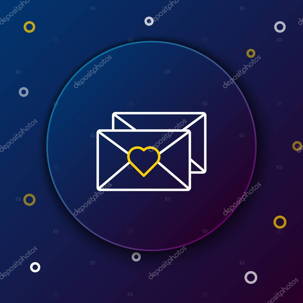 Line Envelope with Valentine heart icon isolated on blue background. Message love. Letter love and romance. Colorful outline concept. Vector. icon