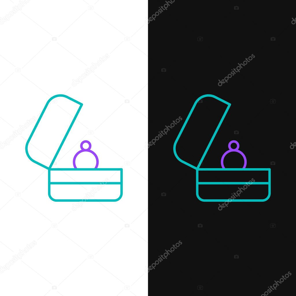 Line Wedding rings icon isolated on white and black background. Bride and groom jewelry sign. Marriage symbol. Diamond ring. Colorful outline concept. Vector. icon