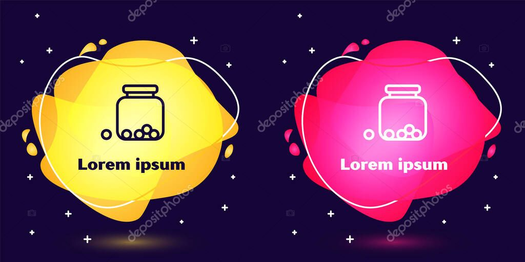 Set line Glass jar with candies inside icon isolated on blue background. Abstract banner with liquid shapes. Vector. icon