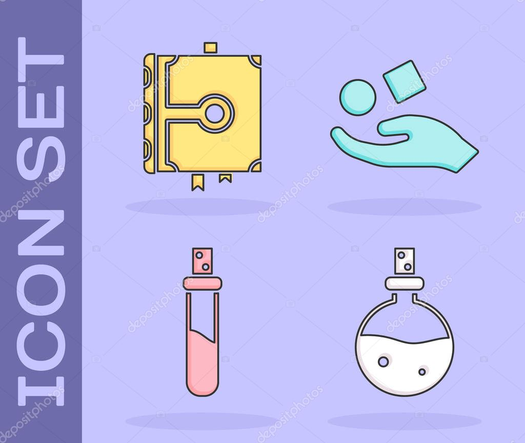 Set Bottle with love potion, Ancient magic book, Bottle with love potion and Cube levitating above hand icon. Vector. icon