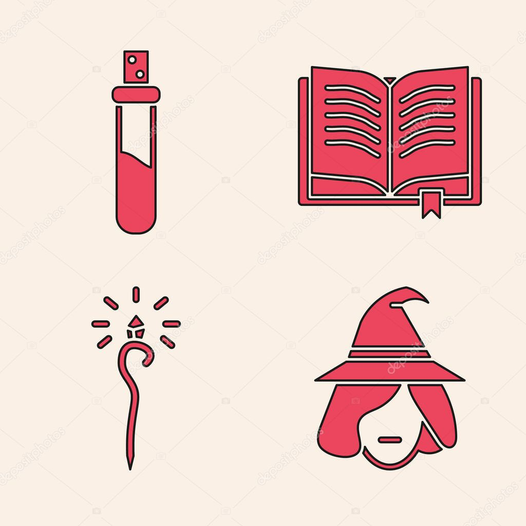 Set Witch, Bottle with love potion, Ancient magic book and Magic staff icon. Vector. icon
