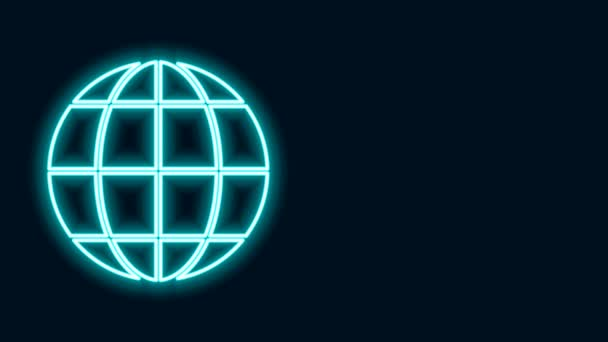 Glowing neon line Earth globe icon isolated on black background. World or Earth sign. Global internet symbol. Geometric shapes. 4K Video motion graphic animation