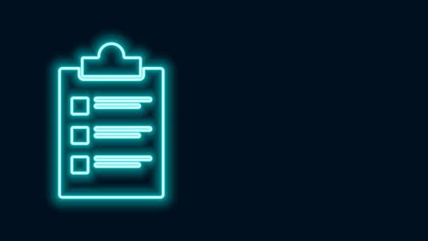 Leuchtende neonfarbene Zwischenablage mit Checklisten-Symbol auf schwarzem Hintergrund. Kontrolllisten-Symbol. Umfrage oder Fragebogen-Feedback-Formular. 4K Video Motion Grafik Animation