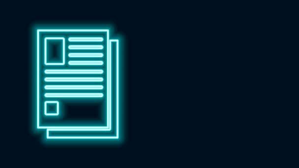 Leuchtende Leuchtschrift Dateidokumentsymbol isoliert auf schwarzem Hintergrund. Checklisten-Symbol. Geschäftskonzept. 4K Video Motion Grafik Animation