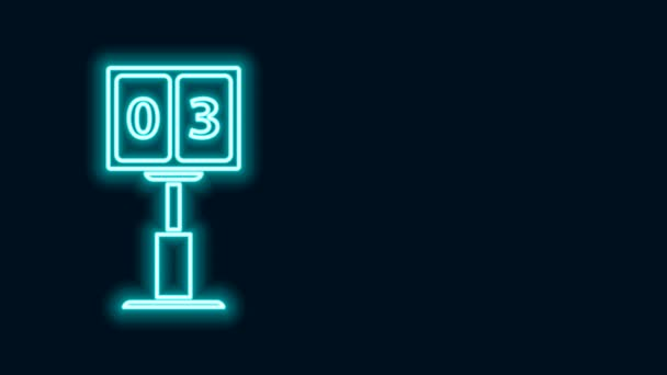 Leuchtende Leuchtlinie Sport Fußball mechanische Anzeigetafel und Ergebnisanzeige Symbol isoliert auf schwarzem Hintergrund. 4K Video Motion Grafik Animation