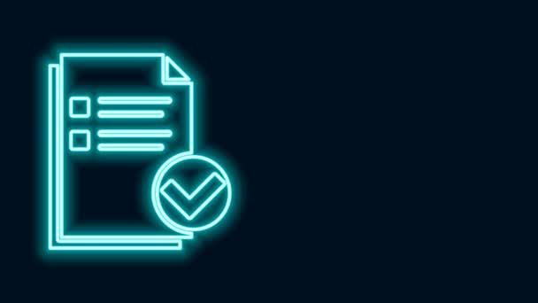 Leuchtende Leuchtschrift Dokument und Häkchen-Symbol isoliert auf schwarzem Hintergrund. Checklisten-Symbol. Geschäftskonzept. 4K Video Motion Grafik Animation