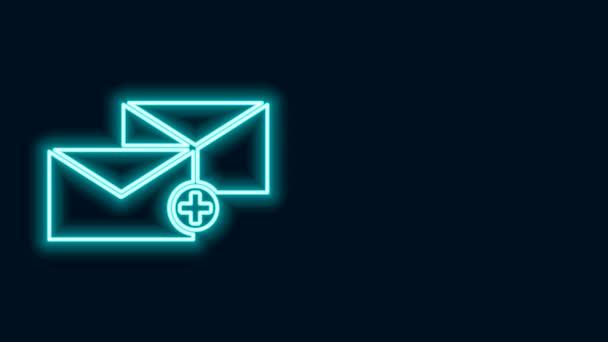 Zářící neonová čára Ikona obálky izolovaná na černém pozadí. Byl přijat koncept zprávy. Nová, e-mailová zpráva, sms. Služba doručování pošty. Grafická animace pohybu videa 4K