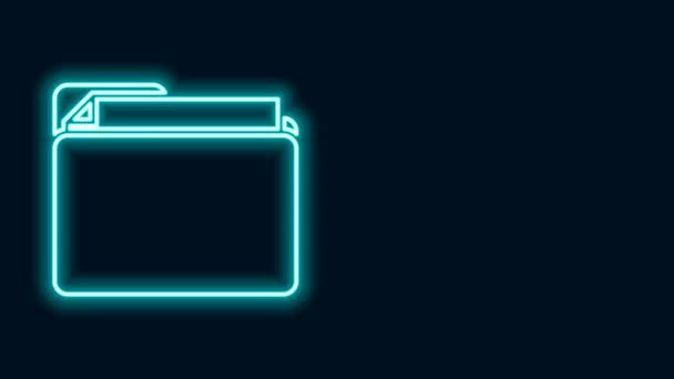 Zářící neonový řádek Ikona složky dokumentu izolovaná na černém pozadí. Symbol účetního pořadače. Vedení účetnictví. Grafická animace pohybu videa 4K