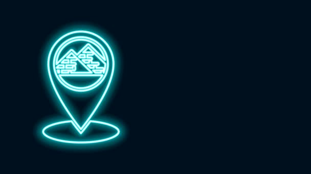 Glowing neon line Map pointer with Egypt pyramids icon isolated on black background. 4K Video motion graphic animation
