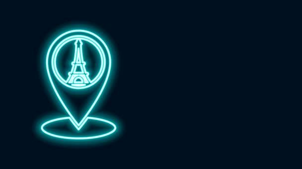 Zářící neonová čára Ukazatel mapy s ikonou Eiffelovy věže izolovaný na černém pozadí. Francie Pařížský orientační symbol. Grafická animace pohybu videa 4K