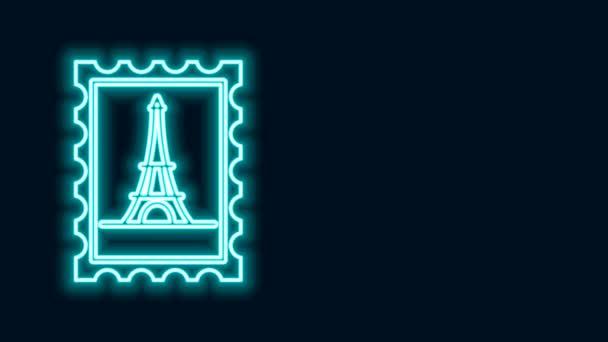 Žhnoucí neonová čára Poštovní známka a ikona Eiffelovy věže izolované na černém pozadí. Grafická animace pohybu videa 4K