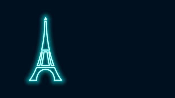 Zářící neonová čára Ikona Eiffelovy věže izolovaná na černém pozadí. Francie Pařížský orientační symbol. Grafická animace pohybu videa 4K