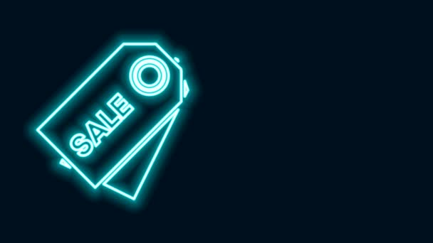 Izzó neon line Árcédula felirattal Eladó ikon elszigetelt fekete alapon. A jelvény ára. Promo tag kedvezmény. 4K Videó mozgás grafikus animáció