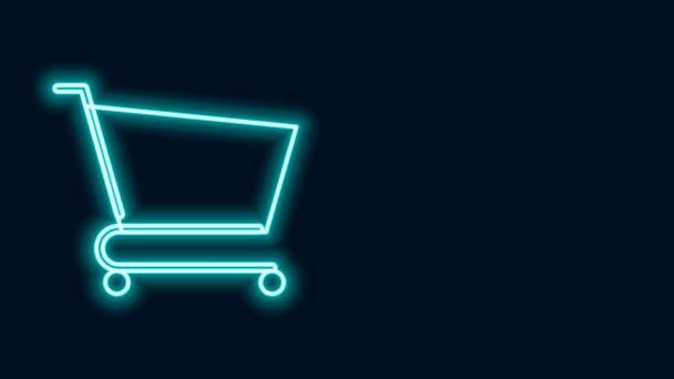 Zářící neonová čára Ikona nákupního košíku izolovaná na černém pozadí. Online nákupní koncept. Podpis doručovací služby. Symbol supermarketu. Grafická animace pohybu videa 4K